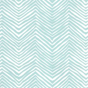 AP303-23PV PETITE ZIG ZAG Light Blue On White Vinyl Quadrille Wallpaper