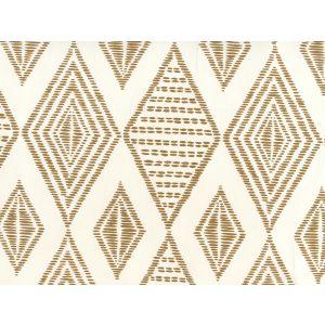AP850-14 SAFARI EMBROIDERY Caramel On Almost White Quadrille Wallpaper