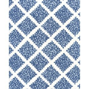 JW01000-11WP SHANGHAI Navy Windsor Blue On White Quadrille Wallpaper