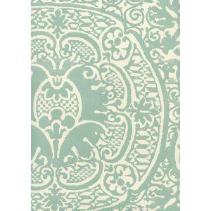 352000W-09OWP VENETO Teal On Off White Quadrille Wallpaper