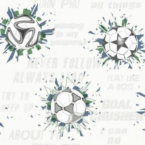 KI0575 Soccer Ball Blast York Wallpaper