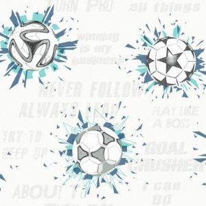 KI0577 Soccer Ball Blast York Wallpaper