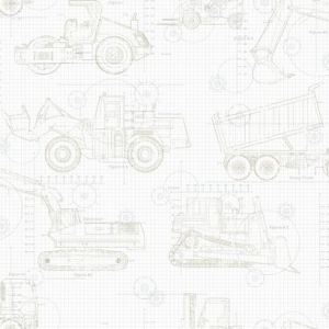 KI0596 Construction Blueprint York Wallpaper