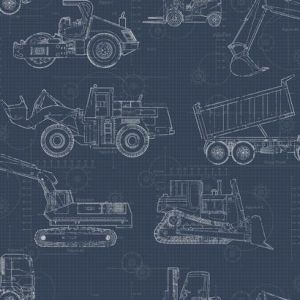 KI0597 Construction Blueprint York Wallpaper