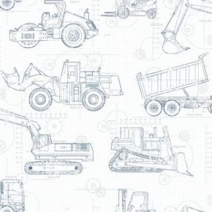 KS2350 Construction Blueprint York Wallpaper