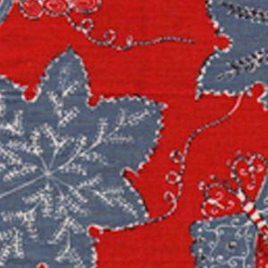 146-40 LES OISEAUX ENCHANTES Lacquer Red Blue Bisque Quadrille Fabric