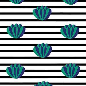 Clare V. Lotus Stripe Onyx Wallpaper