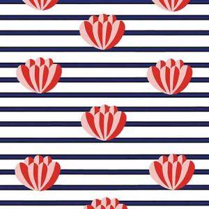 Clare V. Lotus Stripe Navy Wallpaper