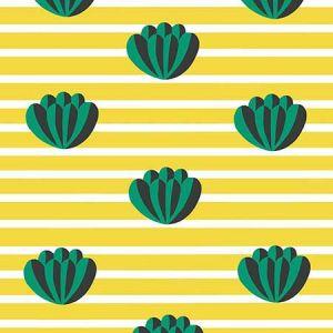 Clare V. Lotus Stripe Yellow Wallpaper