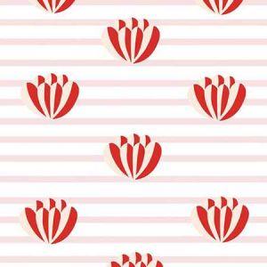 Clare V. Lotus Stripe Pink Wallpaper