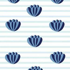 Clare V. Lotus Stripe Blue Wallpaper