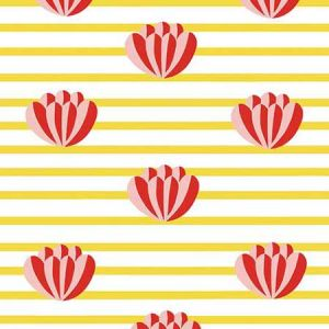 Clare V. Lotus Stripe Marigold Wallpaper