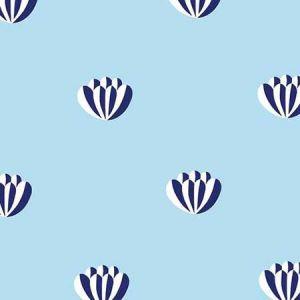 Clare V. Lotus Light Blue Wallpaper