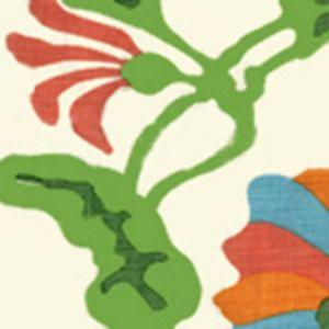 AP804-0 POTALLA Green,Coral On Off White Quadrille Wallpaper