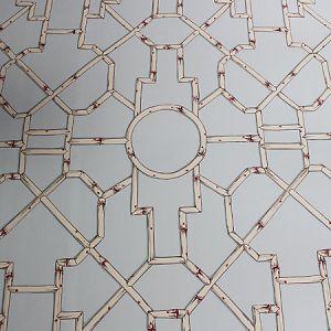 16541-003 BALDWIN BAMBOO Cream And Red On Aqua Scalamandre Fabric