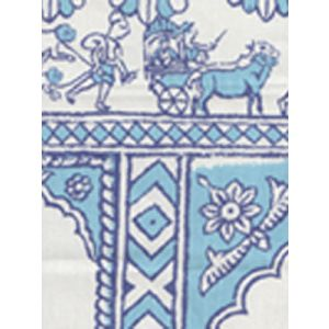 6250-01 SULTAN II Turquoise on White Quadrille Fabric