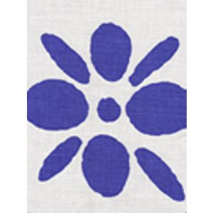 6380-06 WILDFLOWERS II Royal Blue on White Quadrille Fabric