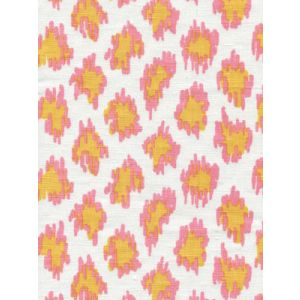 7325-03W ZIZI LEOPARD Pinks Yellow on White Quadrille Fabric