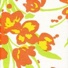 020072M TULIP MULTICOLOR Orange Yellow Green on White Quadrille Fabric