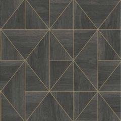2896-25321 Cheverny Wood Tile Dark Brown Brewster Wallpaper