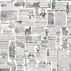 2904-13081 Underwood Newspaper Black Brewster Wallpaper