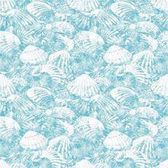 2904-25688 Surfside Shells Aqua Brewster Wallpaper