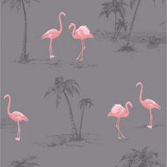 2904-41239Sw Sanibel Flamingo Taupe Brewster Wallpaper