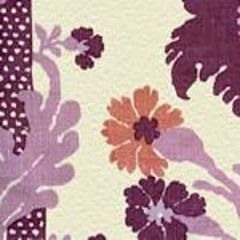 302043F-CU HENRIOT FLORAL Lilacs on Ecru Quadrille Fabric