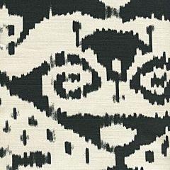 306053F MALAYA Black on Tint  Quadrille Fabric