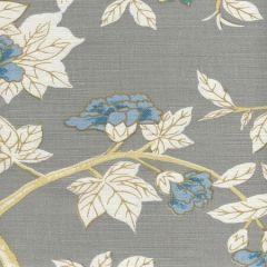 306065F HAPPY GARDEN Grey on White Quadrille Fabric