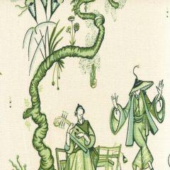 306152F DANSE CHINOIS Dark Green Jungle Soft Quadrille Fabric