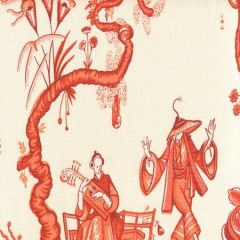 306153F DANSE CHINOIS Rust Merlot Orange Quadrille Fabric