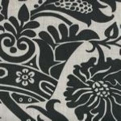 306168F CORINTHE DAMASK Black on Grey Quadrille Fabric