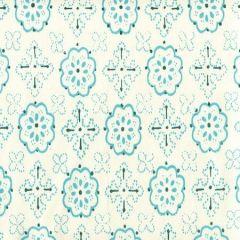 306308CTTN CRAWFORD Multi Turquoise Quadrille Fabric