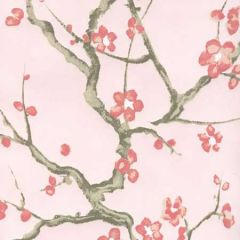 306500W-04WP CHERRY BRANCH Pale Pink Pink Taupe Brown Quadrille Wallpaper
