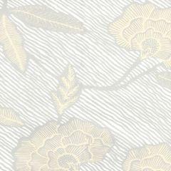 4060M-10WP FLORES II Gray Cream On White Quadrille Wallpaper