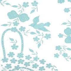 5050-02WP BIRDS II New Blue On White Quadrille Wallpaper
