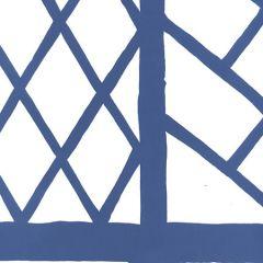 6020W-18 LYFORD TRELLIS Navy On White Quadrille Wallpaper
