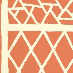 6025-05WP TRELLIS BACKGROUND Orange On Off White Quadrille Wallpaper