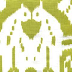 6460-09WP ISLAND IKAT Palm Green On White Quadrille Wallpaper