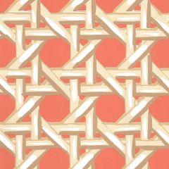 6480WP-03 CLUB CANE Cream Taupe Peach Quadrille Wallpaper