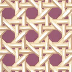6480WP-06 CLUB CANE Cream Taupe Eggplant Quadrille Wallpaper