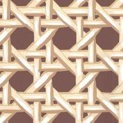 6480WP-11 CLUB CANE Cream Taupe Brown Quadrille Wallpaper