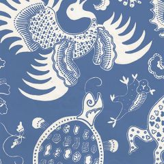 653-210 INDRAMAYU REVERSE French Blue On Off White Quadrille Wallpaper