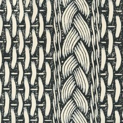 8400WP-01 NEWPORT RATTAN Black Gray On White Quadrille Wallpaper