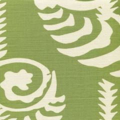 AC101R-05 FERNS UNI REVERSE Jungle Green on Tint Quadrille Fabric