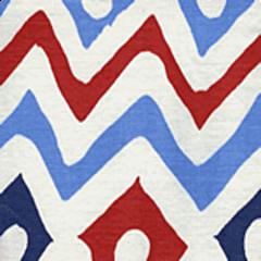 AC103-20 CAP FERRAT Navy Blue Red on White Quadrille Fabric