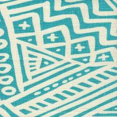 AC304O-23 LITTLE MARGIE ON OSCAR Turquoise on Ivory Quadrille Fabric
