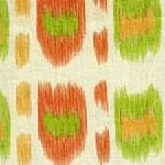 AC704-04CU CINTRA Tangerines, Jungle Green on Tint Quadrille Fabric