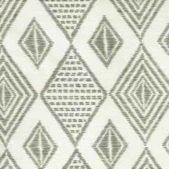 AC850-07 SAFARI EMBROIDERY Medium Gray on Tint Quadrille Fabric